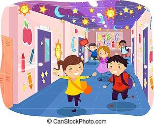 pasillo, stickman, adornado, corra, niños, escuela