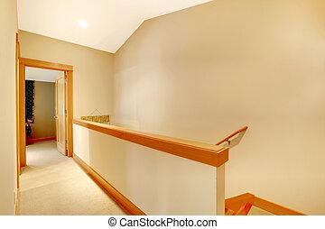 pasillo, vacío, escalera