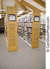 pasillos, biblioteca pública