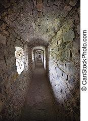 pasillos, piedra, ruinas antiguas, castillo