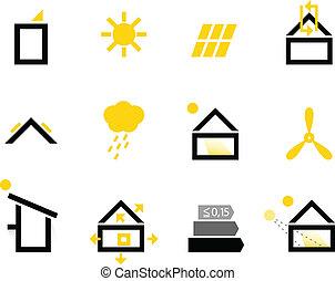 pasivo, casa, iconos, aislado, blanco, (, negro, y, amarillo, )