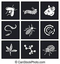 pasożyty, ikony, set., wektor, illustration.