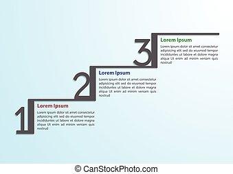 paso, infographic, plantilla