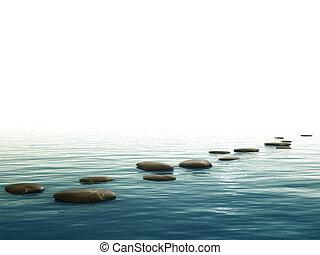 paso, piedras, plano de fondo