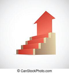 pasos, a, éxito, metáfora