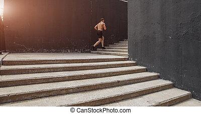 pasos, debajo, paso superior, hombre, condición física, ...