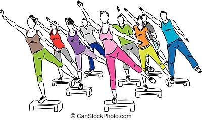 pasos, gente, illus, aeróbicos, condición física