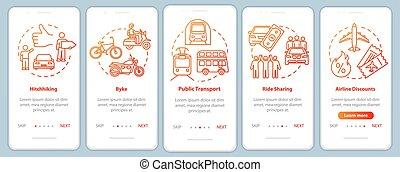 pasos, instructions., coche, turismo, rgb, app, vector, ...