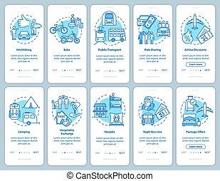 pasos, instructions., viaje, rgb, app, vector, sueño, ...