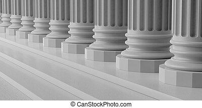 pasos, interpretación, mármol, pilares, 3d
