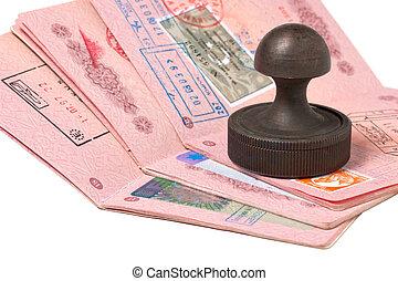 paspoorten, postzegel, stapel