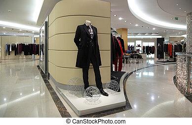 paspop, in, de winkel van kleren