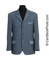 paspop, in, elegant, grijs, kostuum