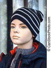 paspop, -, jongen, in, winter kleren
