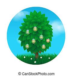 pasqua, albero, cartolina auguri