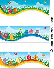 pasqua, bandiere, con, colorito, uova pasqua