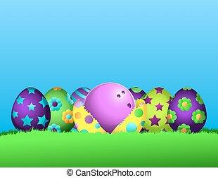 pasqua, bowling, uovo, fila