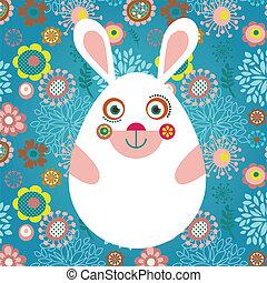 pasqua, cartolina auguri, con, coniglietto