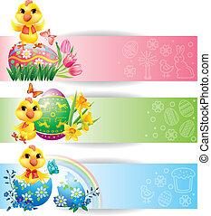 pasqua, colorito, bandiere orizzontali, con, pollo