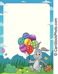 pasqua, cornice, 1, tema, palloni, coniglietto