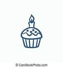 pasqua, cupcake, con, candela, schizzo, icon.