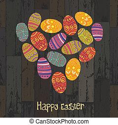 pasqua, eggs., cuore ha modellato, su, assi legno, fondo., vettore, eps10