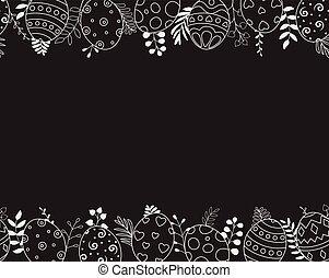 pasqua felice, augurio, card., uova pasqua, composizione, mano, disegnato, nero, sullo sfondo
