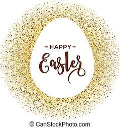 pasqua felice, cartolina auguri, con, oro, uovo