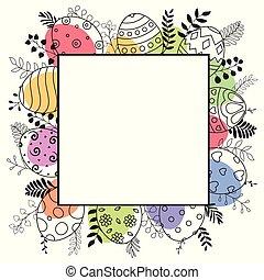 pasqua felice, cartolina auguri, con, quadrato, cornice, e, uova pasqua, mano, disegnato