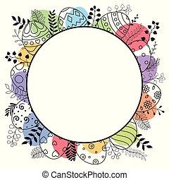 pasqua felice, cartolina auguri, con, rotondo, cornice, e, uova pasqua, mano, disegnato