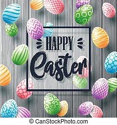 pasqua felice, cartolina auguri, con, uova colorate, e, cornice, su, legno, fondo