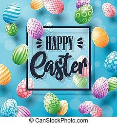 pasqua felice, cartolina auguri, con, uova colorate, e, cornice, su, sfondo blu