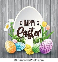 pasqua felice, cartolina auguri, con, uova colorate, fiori, su, legno, fondo