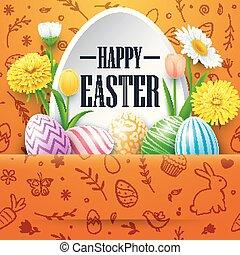 pasqua felice, cartolina auguri, con, uova colorate, fiori, su, scarabocchiare, carino, fondo