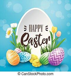 pasqua felice, cartolina auguri, con, uova colorate, fiori, su, sfondo blu