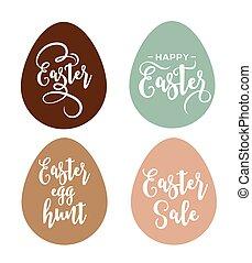 pasqua felice, cartolina auguri, con, uova, e, iscrizione