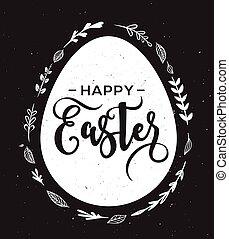pasqua felice, cartolina auguri, con, uovo, e, iscrizione