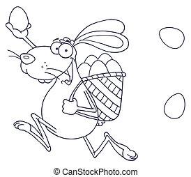pasqua felice, coniglio, correndo