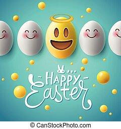 pasqua felice, manifesto, divertente, uova pasqua, con, sorridente, emoji, facce, vector.