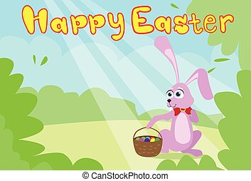 pasqua felice, scheda, coniglietto, cesto, primavera, paesaggio, erba verde, uova, coniglio