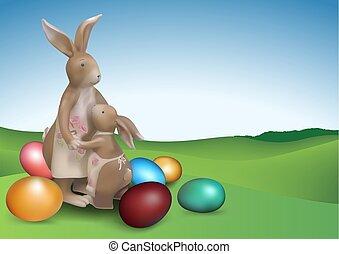 pasqua, fondo, con, due, marrone, coniglietti