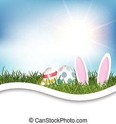 pasqua, fondo, con, uova, e, orecchi coniglietto, in, erba, 0304
