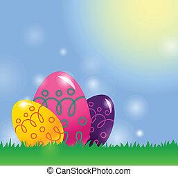 pasqua, fondo, con, uova pasqua