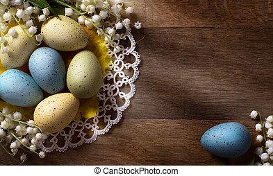 pasqua, fondo, legno, uova