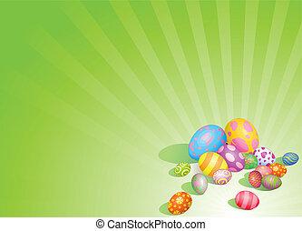pasqua, fondo, uova, bello