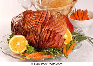pasqua, miele, lustrato, prosciutto, con, carote
