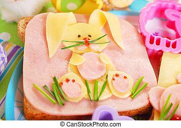 pasqua, panino, con, coniglietto, per, bambini