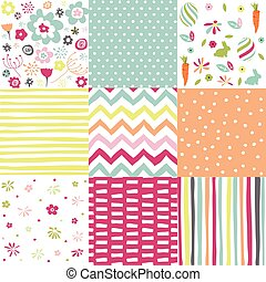 pasqua, primavera, patterns., vettore, seamless, backgrounds.