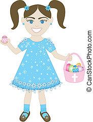 pasqua, ragazza, 2, uovo