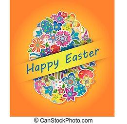 pasqua, simbolo, uovo, e, fiore primaverile, 4
